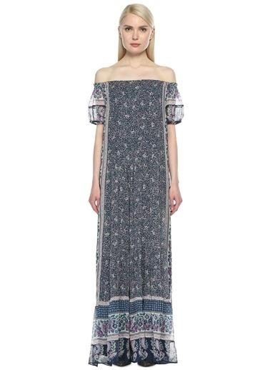 Joie Kayık Yaka Çiçekli Uzun Elbise Mavi